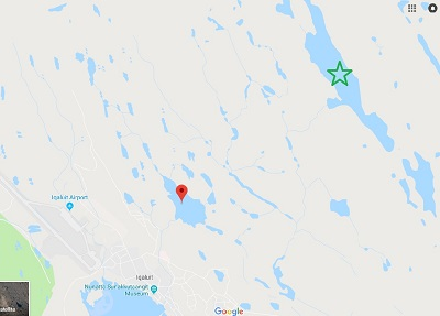 A freshwater researcher suggests there are a number of deep lakes outside the city of Iqaluit, like the one marked in green here, which have enough capacity to replenish its Lake Geraldine reservoir, indicated by the red marker. (GOOGLE MAPS IMAGE)
